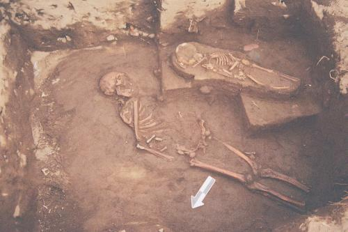 Adult male and child burials at Mound 5